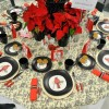 Tables being set for Friends of Library Christmas Luncheon