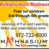 Four free evenings of 'Multiplication Madness' for local third through sixth graders