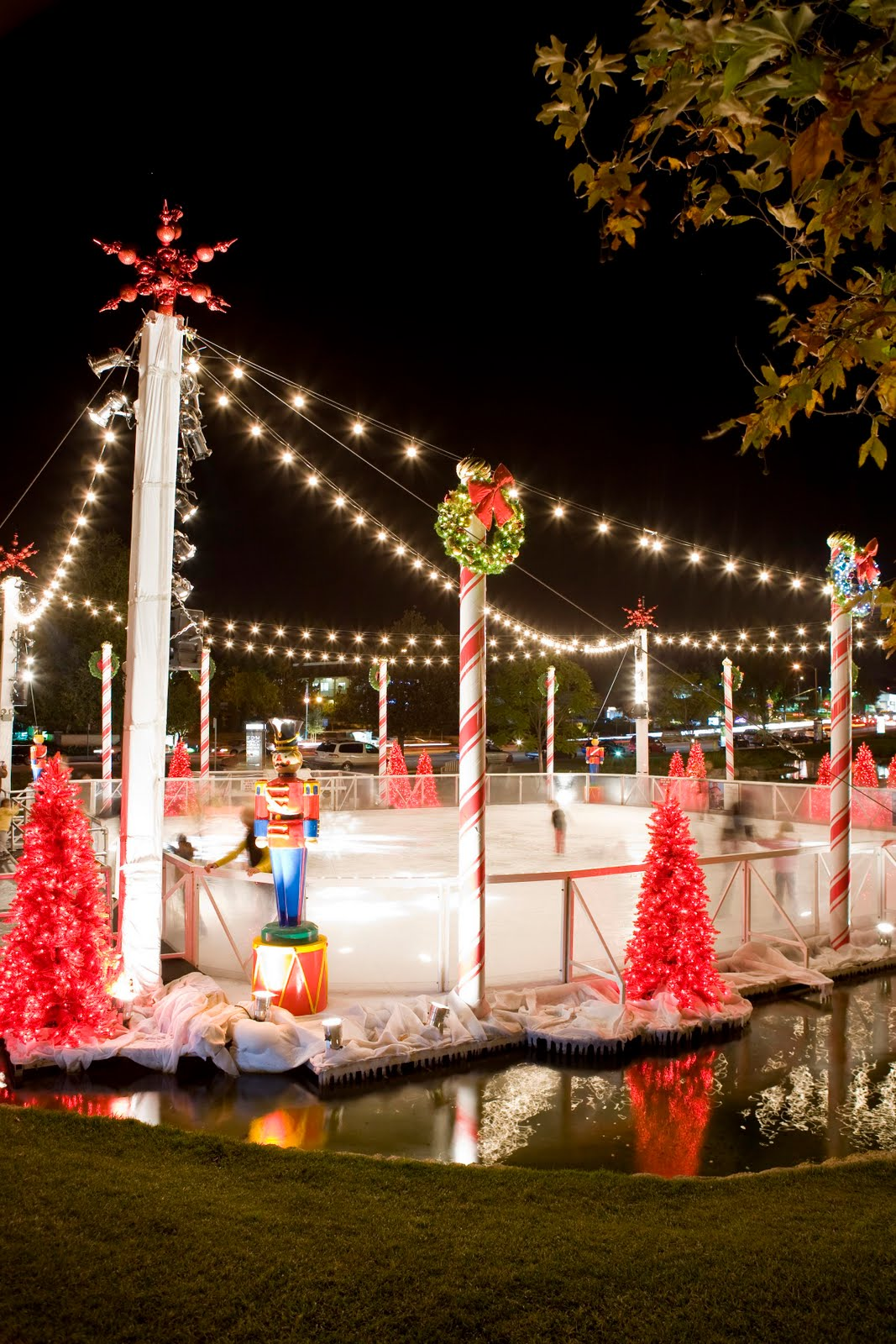 Outdoor ice rink open for skating at Frisco Square