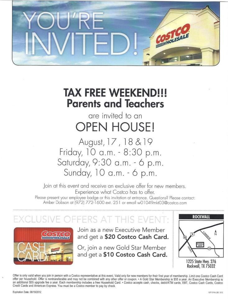Tax Free Weekend Open House at Costco, Aug 17-19, 2012