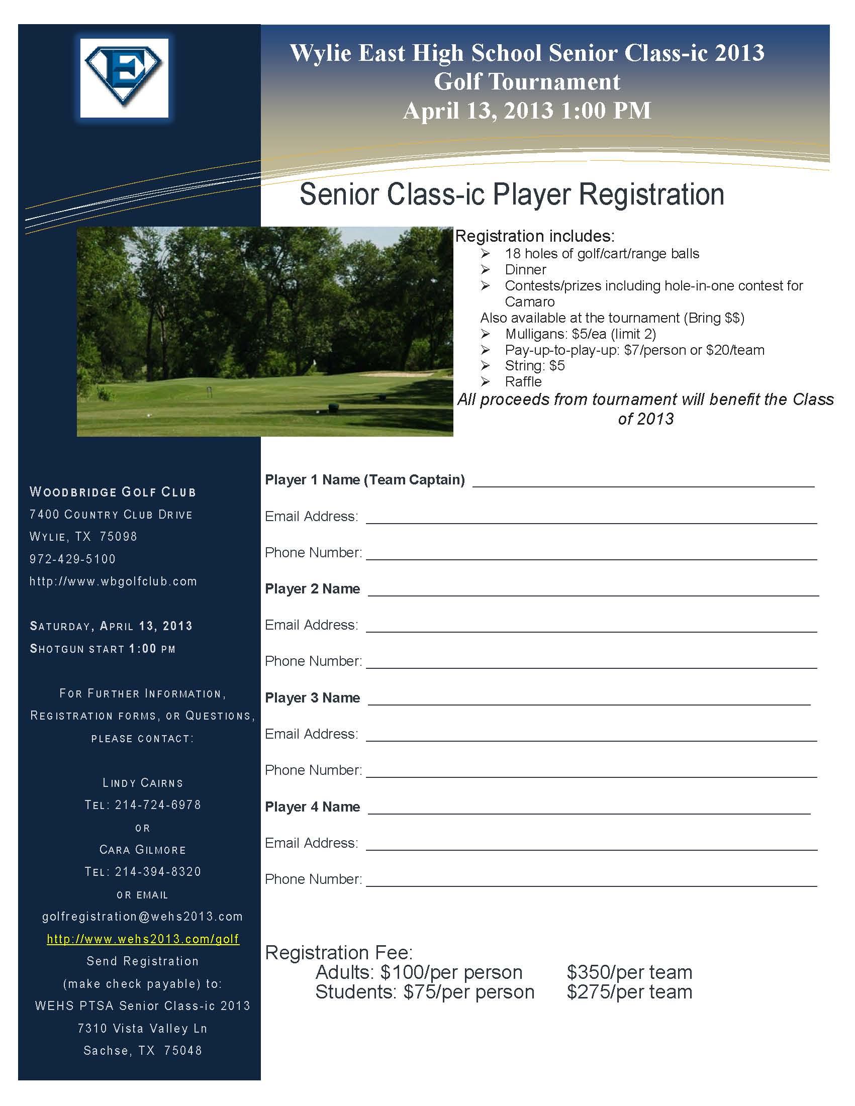 wylie east senior class ic golf tournament april 13 blue ribbon news
