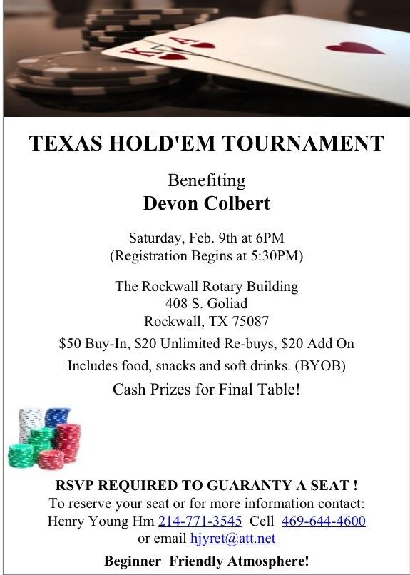 Texas Hold'em Tourney to benefit firefighter Devon Colbert