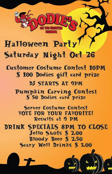 Halloween Bash, costume contest at Dodie's Oct 26