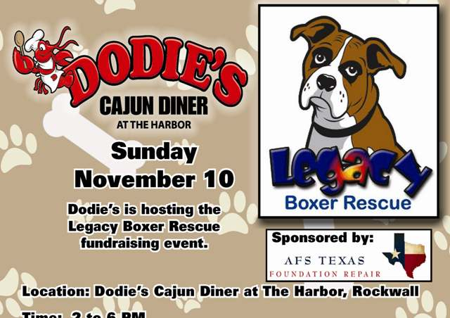 Legacy Boxer Rescue fundraising event Nov 10 at Dodie's Rockwall