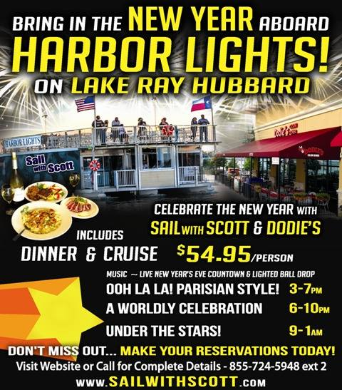 New Year's Eve dinner & cruise on Lake Ray Hubbard