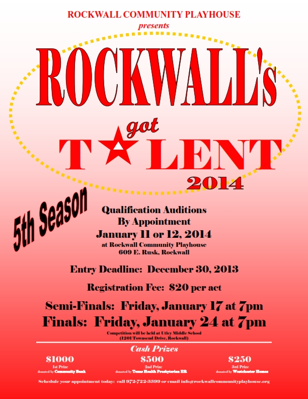 Entry deadline Dec 30 for Rockwall's Got Talent 2014