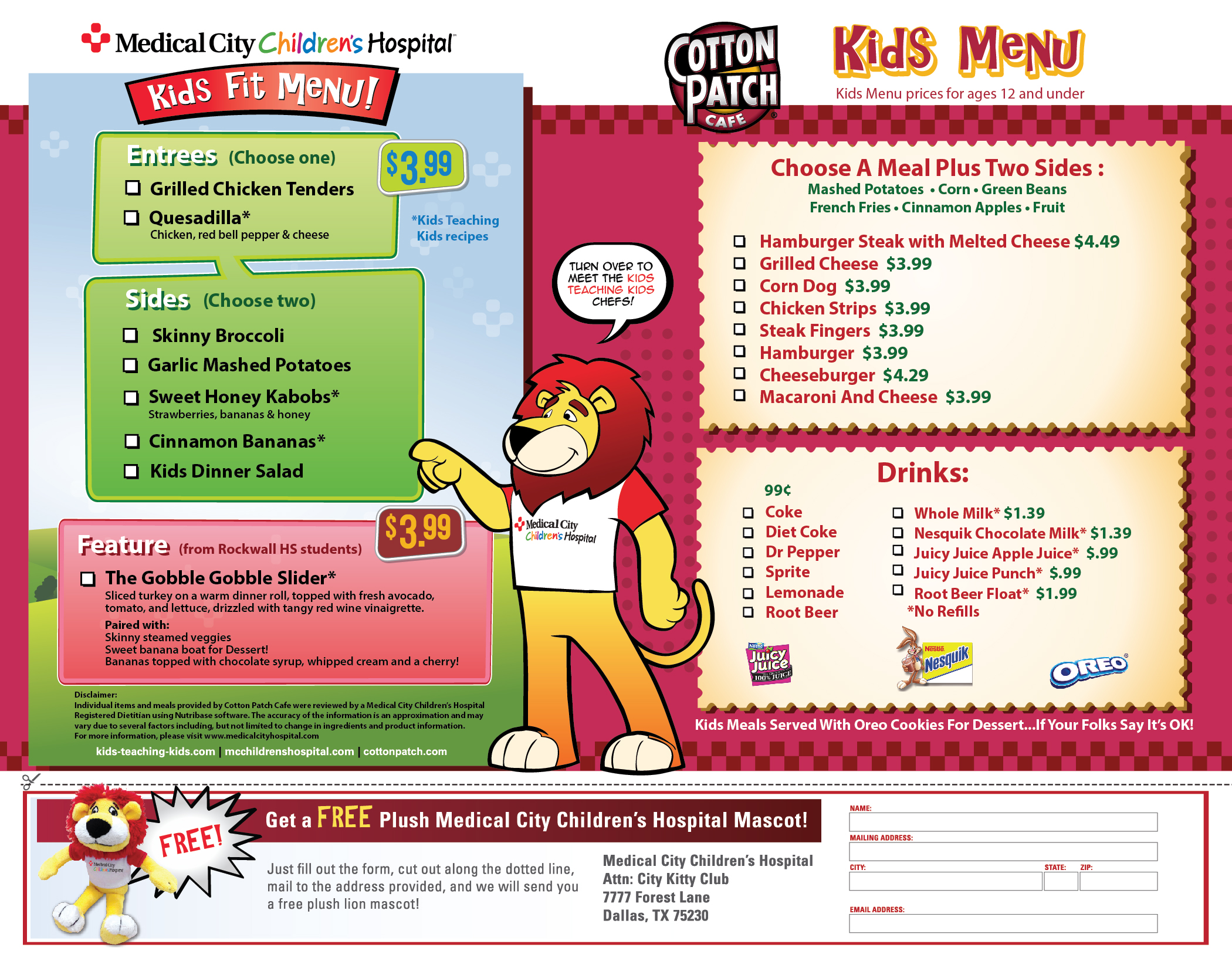 ROCKWALL TX Jan 21 2015 Cotton Patch In Rockwall Released Its Newest Version Of Their Kids Fit Menu On The Is Gobbler Slider
