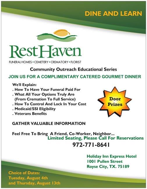 Dine & Learn: Rest Haven to host informational program ...