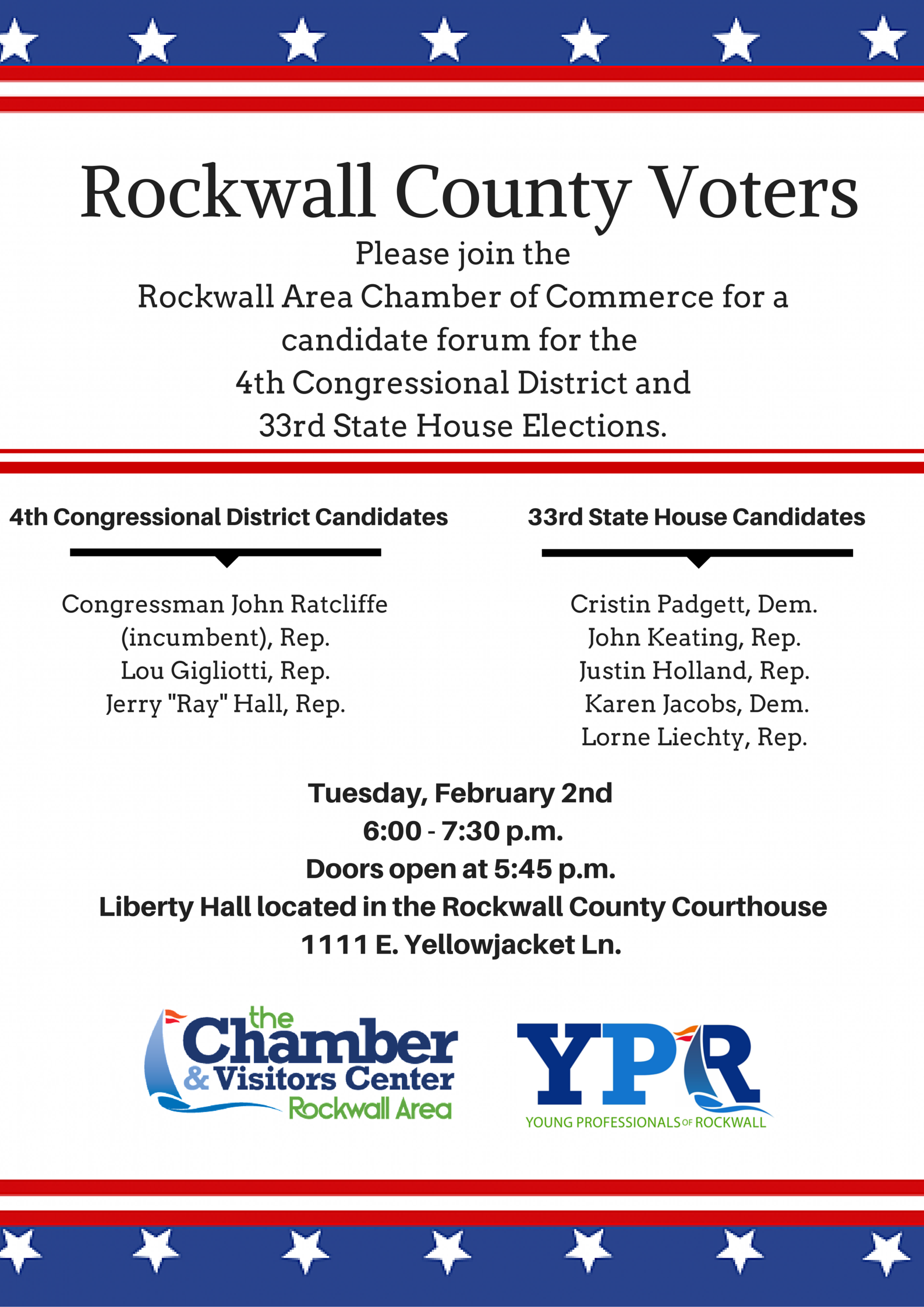 Candidate Forum Feb 2 at Rockwall County Courthouse