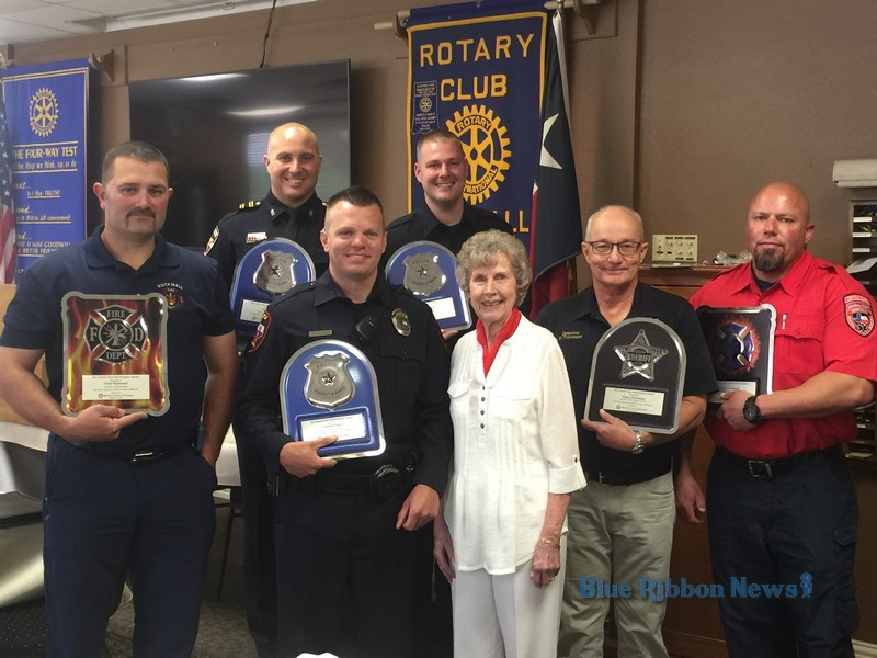 Rockwall Rotary honors first responders, welcomes new members