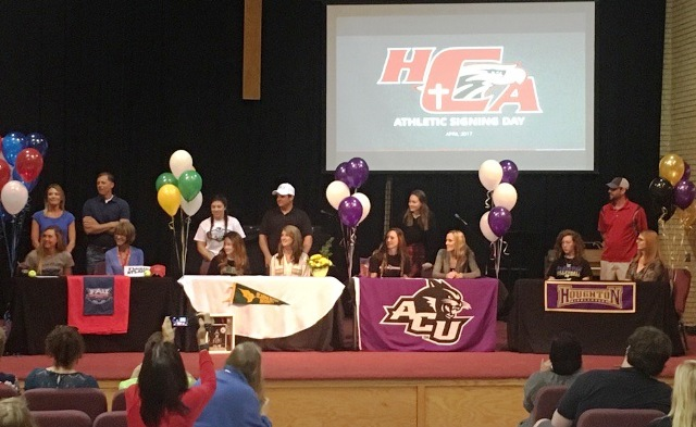 Heritage Christian athletes sign letters of intent