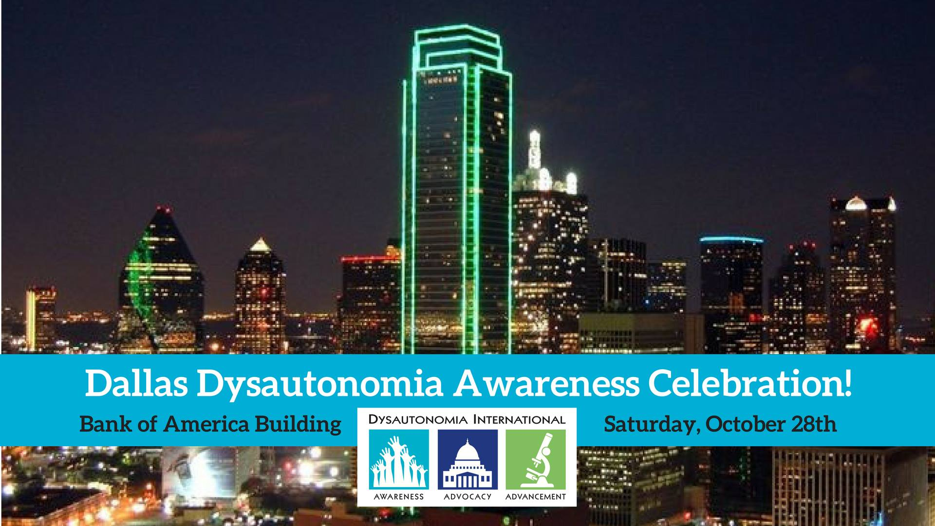 Dallas skyline shines turquoise for millions living with Dysautonomia