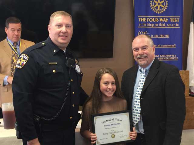Rotary names Student of Honor from Billie Stevenson Elementary