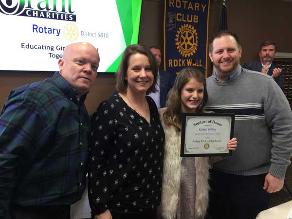 Rockwall Noon Rotary recognizes Student of Honor, inducts new member