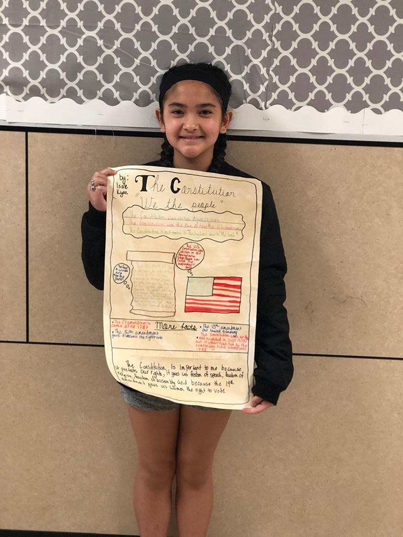 Constitution Week Poster Contest Winner Iselle Kiyan, Billie Stevenson Elementary