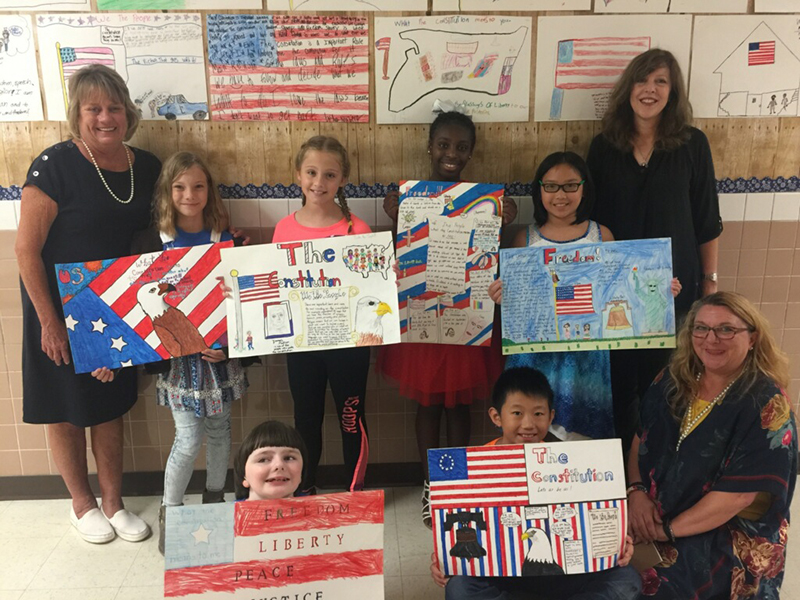 Constitution Week Poster Contest Winner Marlie Rae Campbell (top row, far right), Cullins-Lake Pointe Elementary