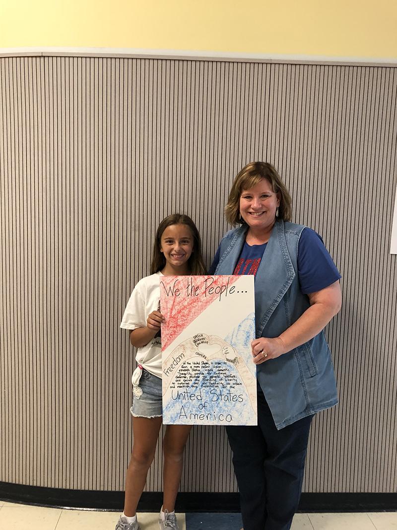 Constitution Week Poster Contest Winner Brooklyn Rogers, Hartman Elementary