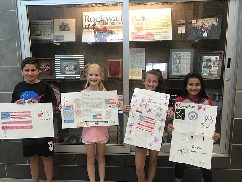 Constitution Week Poster Contest Winner Audrey Bailey (second from right) - Linda Lyon Elementary