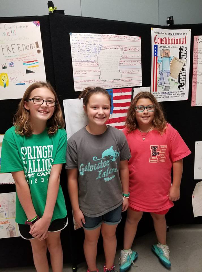 Constitution Week Poster Contest Winner Grace Pesek (middle), Springer Elementary