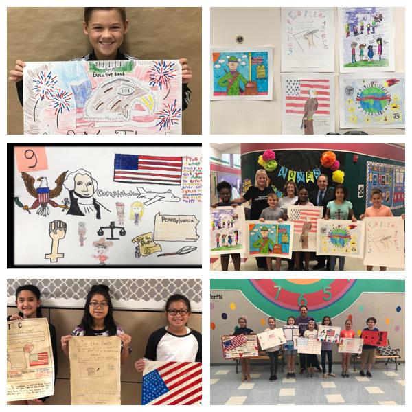 Constitution Week Poster Contest Winner Van Leuger (top left) - Nebbie Williams Elementary