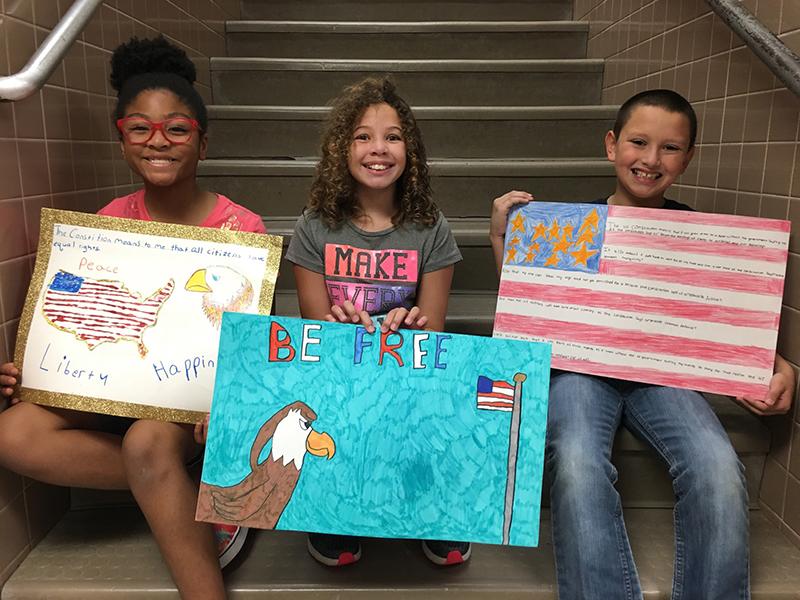 Constitution Week Poster Contest Winner Danny Gardner (right) - Reinhardt Elementary