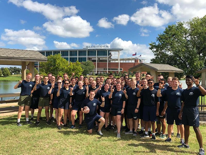 The UT NROTC Battalion at McLane Stadium in Waco, Texas