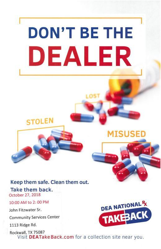 Drug Take Back Saturday, Oct. 27