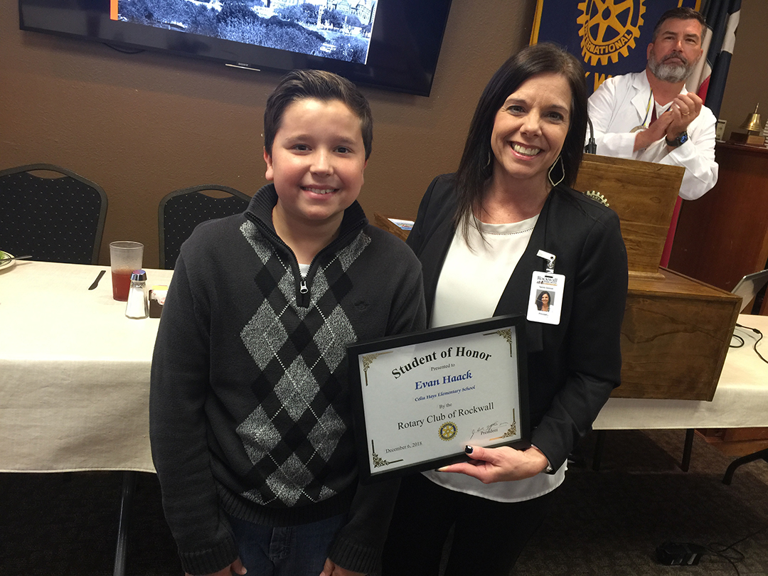 Rockwall Noon Rotary Recognizes Student of Honor from Hays Elementary
