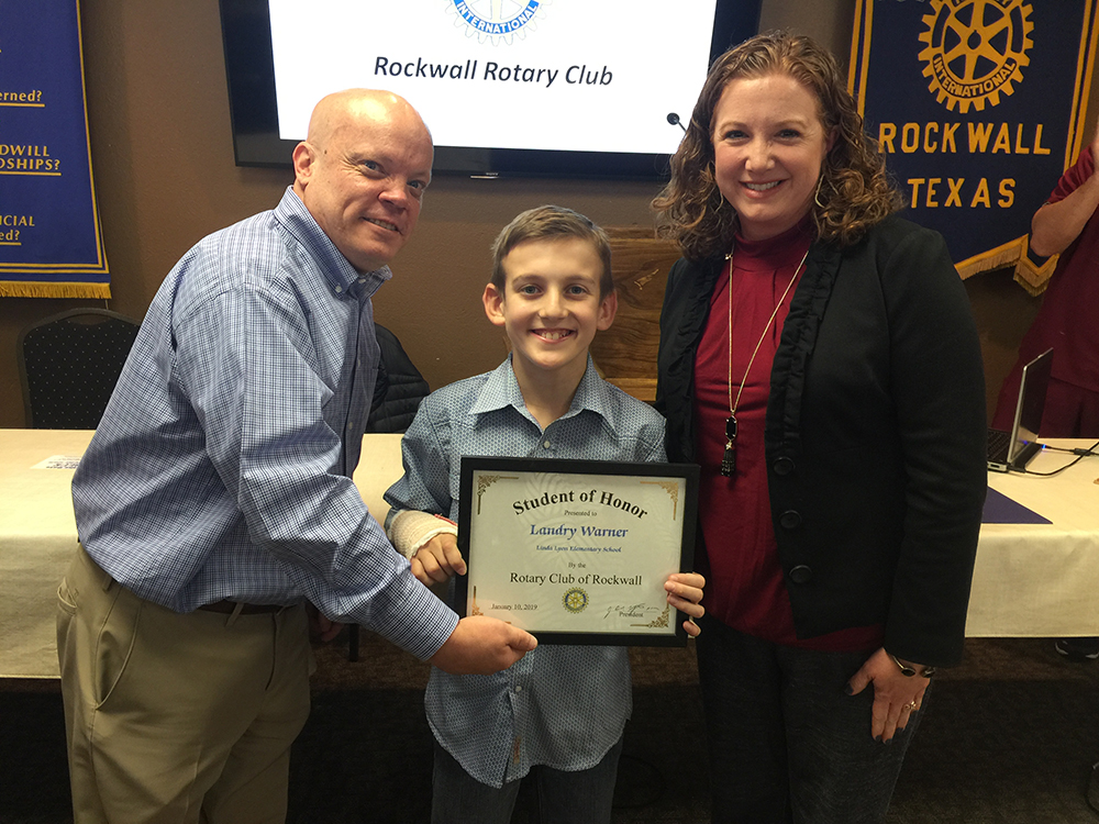 Noon Rotary Recognizes Student of Honor from Linda Lyon Elementary