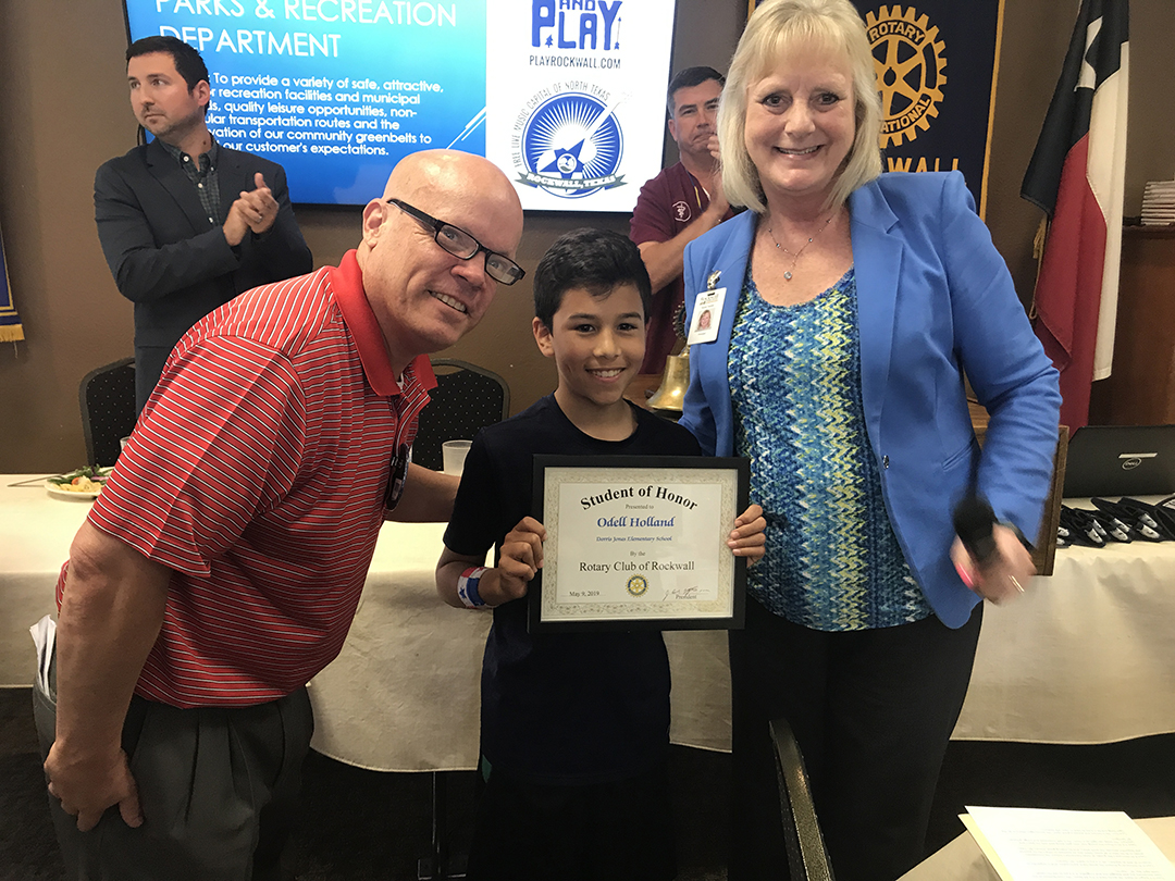 Rockwall Noon Rotary Recognizes Student of Honor from Jones Elementary