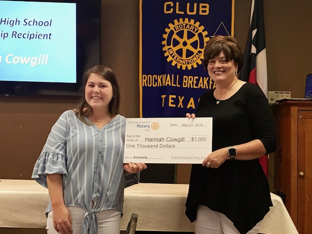 Breakfast Rotary Awards Scholarship to Rockwall High School Senior