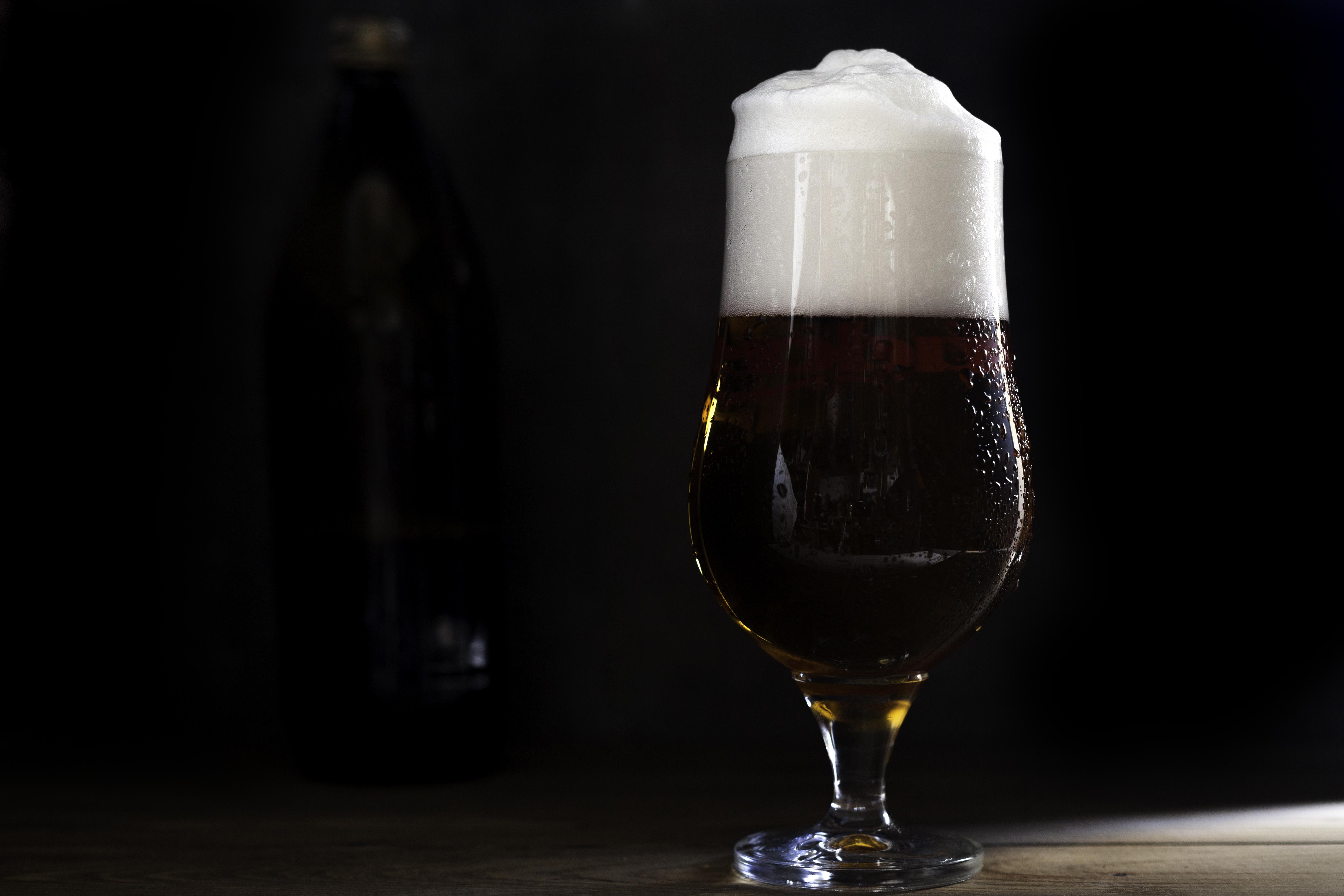 beer cup on dark