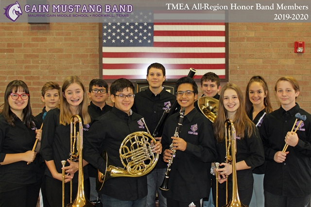 Cain students make Region 25 Middle School Honor Band