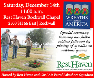 Wreaths Across America: Community welcome for laying of remembrance wreaths at Rest Haven Rockwall
