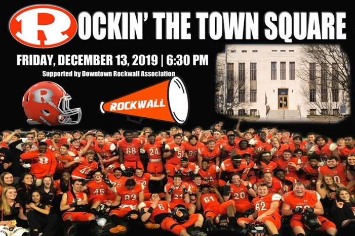Community pep rally for Jackets Friday in Rockwall's downtown square