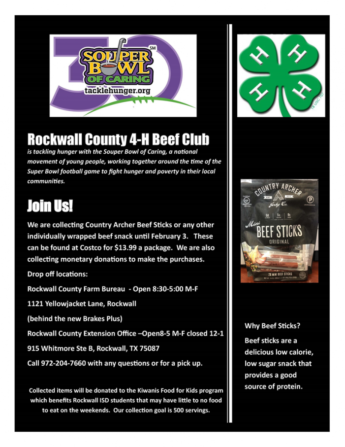 SouperBowl: Rockwall County 4-H collecting beef sticks to tackle hunger