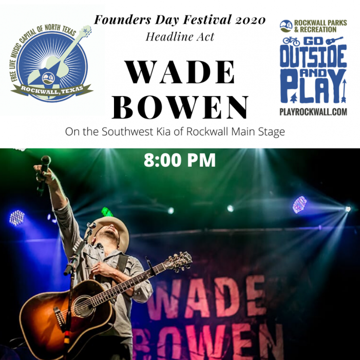 Wade Bowen to headline Rockwall Founders Day event May 16