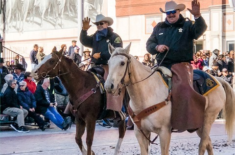 Rockwall County Sheriff's Posse rides in Ft Worth Stock Show & Rodeo Parade