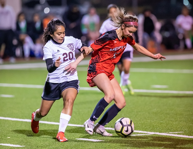 Heath Lady Hawks Varsity Soccer wins first home game over Mesquite