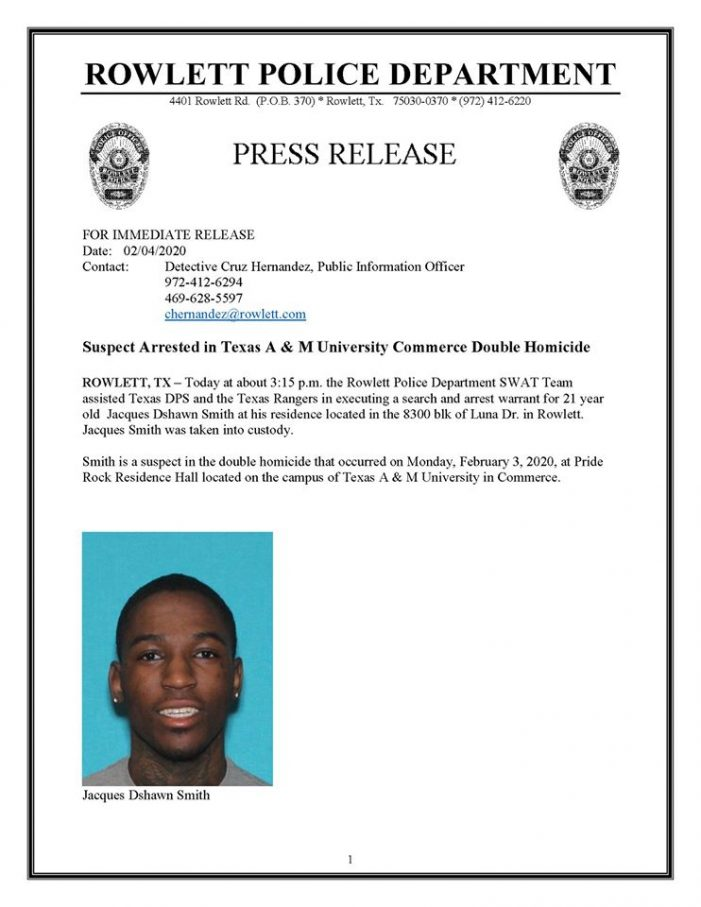 Rowlett Police SWAT Team assists in arrest in Texas A&M double homicide