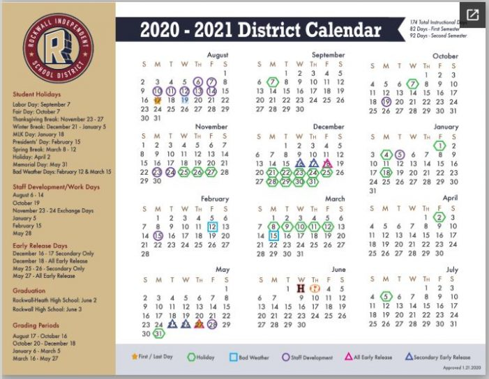 Rockwall ISD Board of Trustees approves 2020-21 school calendar