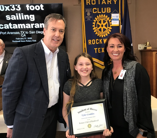 Dobbs Elementary student named Rockwall Rotary Student of Honor
