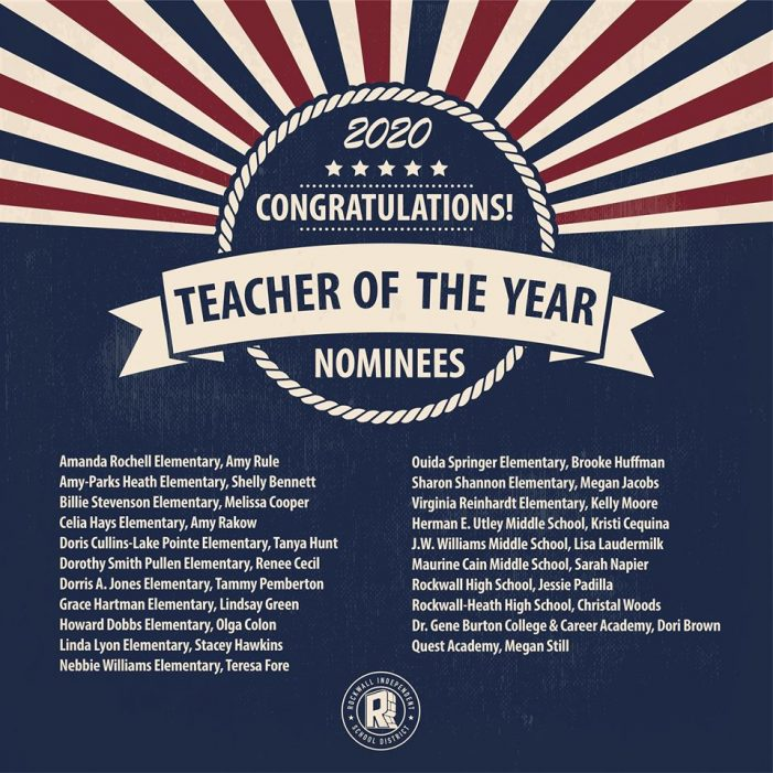 Rockwall ISD names 2020 Teacher of the Year nominees