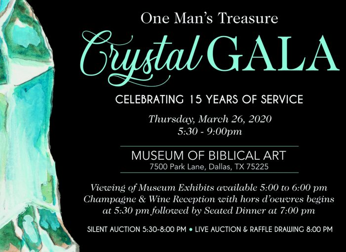 One Man's Treasure to celebrate 15 years with Crystal Gala