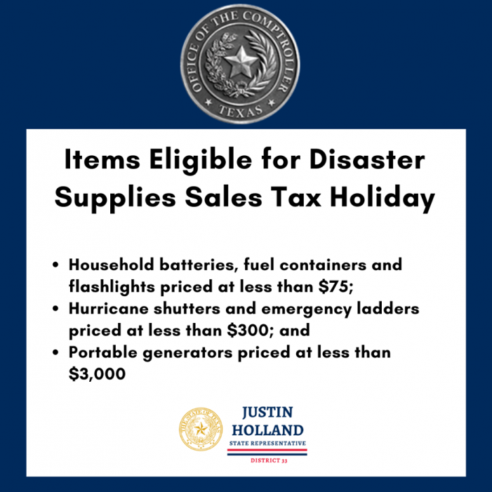Disaster Supplies Sales Tax Holiday this weekend