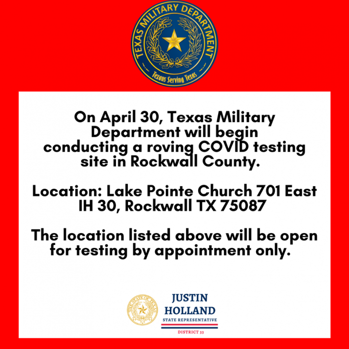 COVID-19 State Testing Site for Rockwall County at Lake Pointe Church Thursday