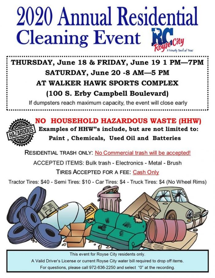 Royse City residents welcome for Annual Residential Cleaning Event