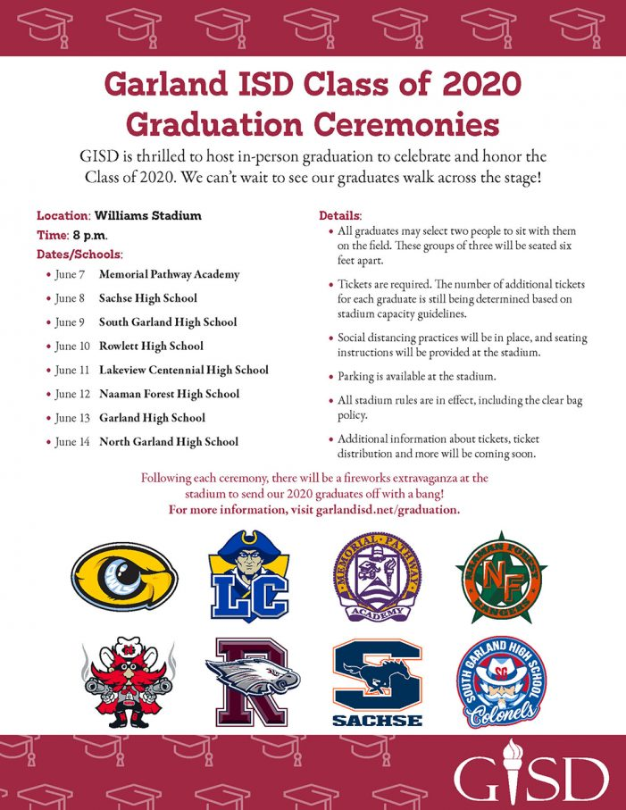 Garland ISD announces graduation plans