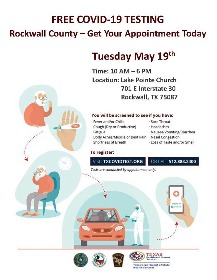 Free COVID-19 testing at Lake Pointe Church in Rockwall Tuesday, May 19