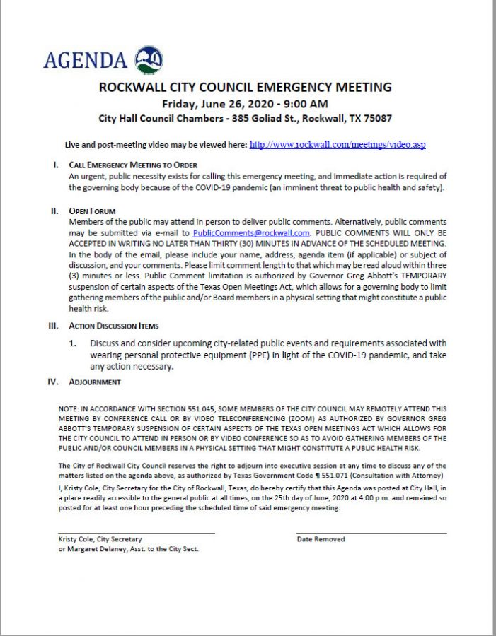 Public comments welcome at Rockwall City Council Emergency Meeting Friday